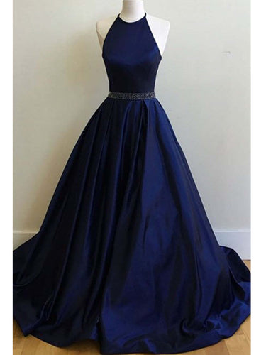 Satin Prom Dresses Halter Dark Navy Ball Gown Long Prom Dress/Evening Dress JKL191