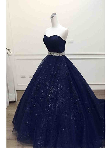 Ball Gown Prom Dresses Sweetheart Sequins Dark Navy Long Prom Dress/Evening Dress JKL193|Annapromdresss