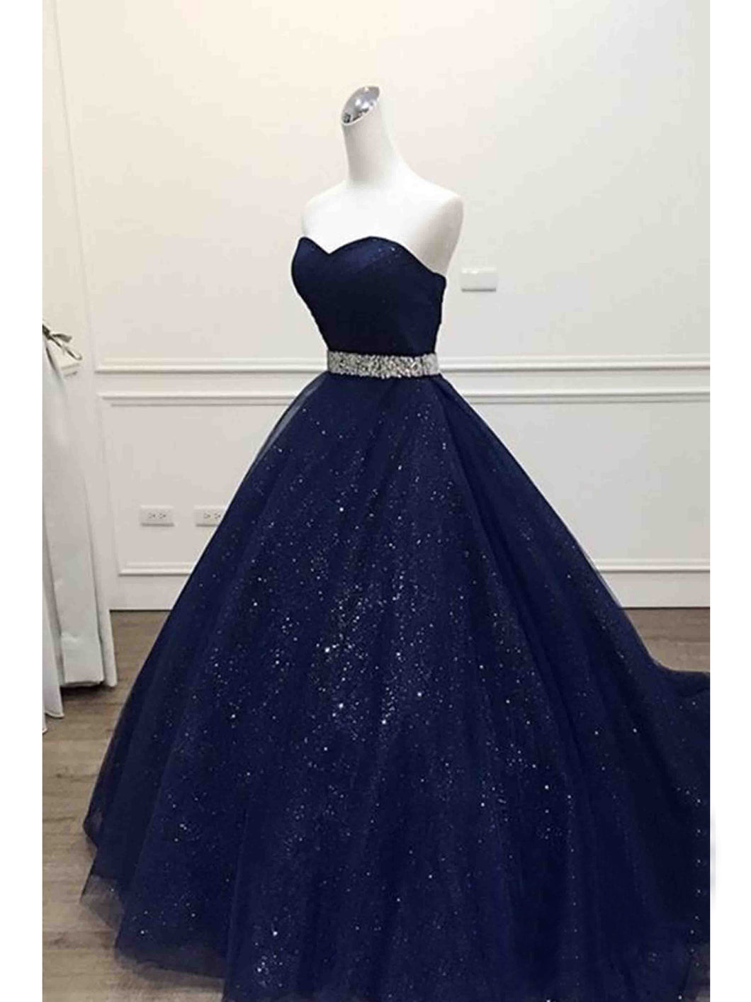 Ball Gown Prom Dresses Sweetheart Sequins Dark Navy Long Prom Dress ...