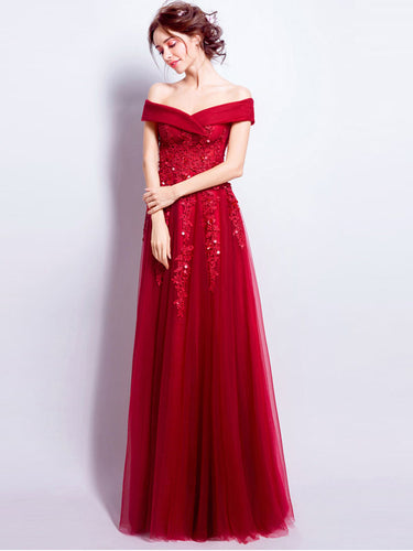 Burgundy Prom Dresses Off-the-shoulder Floor-length Tulle Prom Dress/Evening Dress JKL196