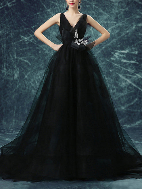 Black Backless Prom Dresses Straps A-line Sweep/Brush Train Prom ...