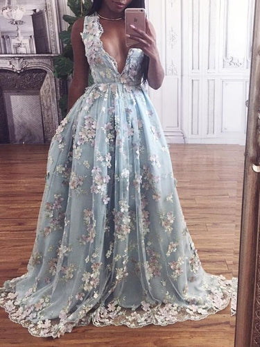 Sexy Beautiful Prom Dresses V-neck Short Train Hand-Made Flower Long Prom Dress/Evening Dress JKL200|Annapromdress