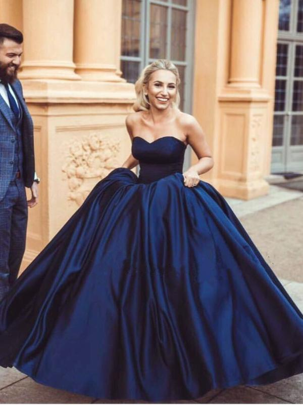 Ball Gown Prom Dresses Sweetheart Burgundy Dark Navy Long Chic Prom