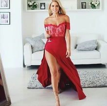 Beautiful Prom Dresses Sheath/Column Floor-length Slit Sexy Prom Dress/Evening Dress JKL203
