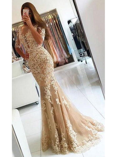 Chic Prom Dresses Appliques Scoop  Floor-length Backless Prom Dress/Evening Dress JKL204