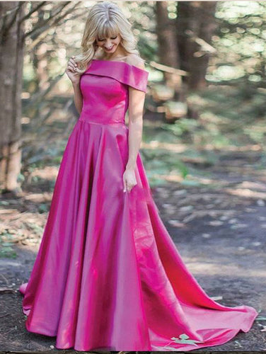 Fuchsia Prom Dresses Off-the-shoulder Sweep/Brush Train Beautiful Prom Dress/Evening Dress JKL207