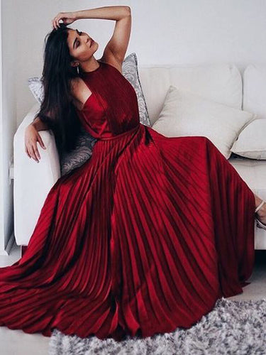 Burgundy Prom Dresses A-line Halter Ruffles Long Sexy Prom Dress/Evening Dress JKL208