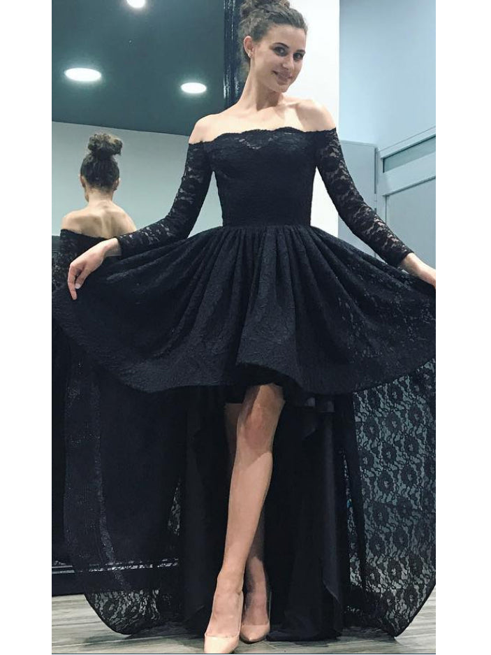 Sexy High-low Prom Dresses Off-the-shoulder Asymmetrical Long Prom Dress/Evening Dress JKL210