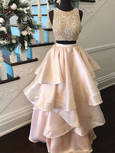 Two Piece Chic Prom Dresses A-line Scoop Floor-length Rhinestone Sexy Prom Dress/Evening Dress JKL211