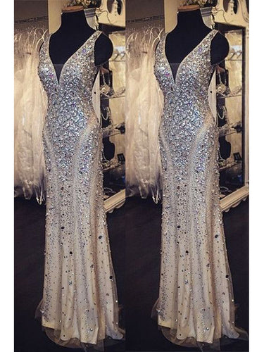 Sexy Prom Dresses V-neck Floor-length Sliver Rhinestone Prom Dress/Evening Dress JKL212