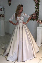 Ball Gown Sexy Prom Dresses Scoop Half Sleeve Short Train Satin Prom Dress/Evening Dress JKL215