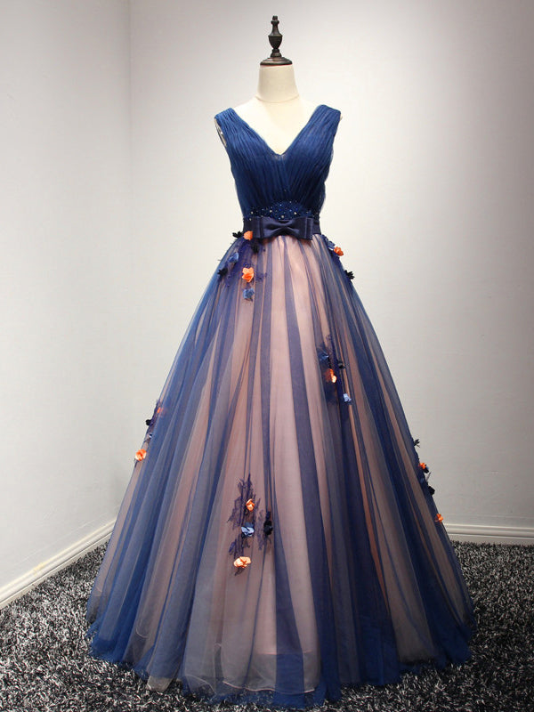 Beautiful Prom Dress V-neck Floor-length Ball Gown Long Prom Dress ...