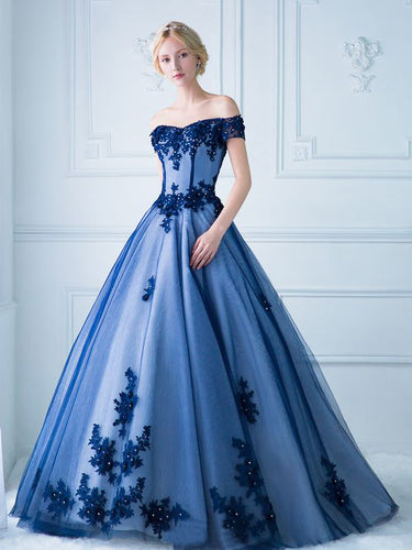 Chic Prom Dresses Off-the-shoulder Ball Gown Floor-length Prom Dress/Evening Dress JKL218