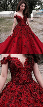 Sexy Prom Dresses Scoop Ball Gown Burgundy Long Prom Dress/Evening Dress JKL219|Annapromdress
