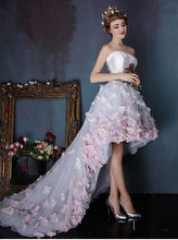 High-Low Prom Dresses Strapless A-line Hand-Made Flower Long Prom Dress/Evening Dress JKL220