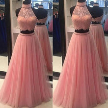 Beautiful Two Piece Prom Dresses High Neck Long Sexy Prom Dress/Evening Dress JKL221