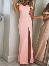 Long Prom Dress Sheath/Column Floor-length Pink Black Prom Dress/Evening Dress JKL228