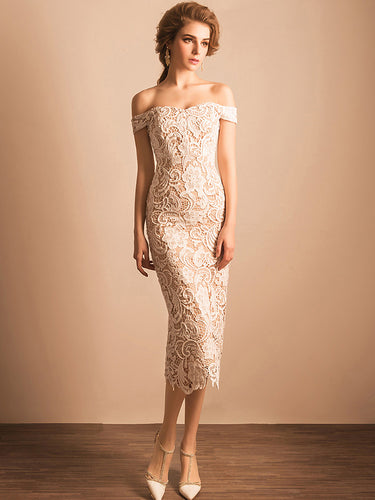 Chic Prom Dresses Sheath/Column Off-the-shoulder Long Lace Prom Dress/Evening Dress JKL230