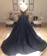 Black Prom Dresses V-neck Sweep/Brush Train Taffeta Long Prom Dress/Evening Dress JKL231
