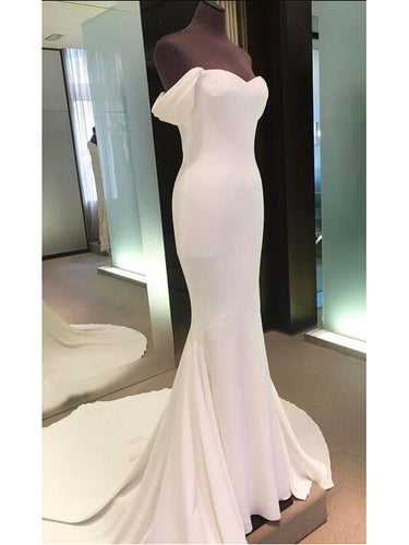 Ivory Prom Dresses Off-the-shoulder Sheath/Column Sexy Prom Dress/Evening Dress JKL232