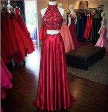 Sexy Prom Dresses High Neck A-line Slit Long Burgundy Prom Dress/Evening Dress JKL233
