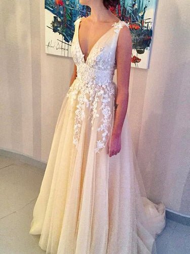 Chic Prom Dresses V-neck Sweep/Brush Train Tulle Ivory Sexy Prom Dress/Evening Dress JKL234