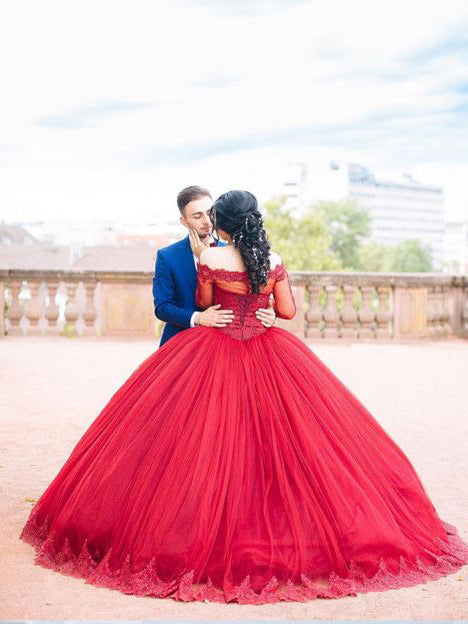 Ball Gown Prom Dresses Off-the-shoulder Floor-length Burgundy Prom Dress/Evening Dress JKL239