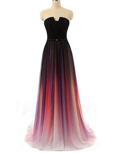 Beautiful Ombre Prom Dresses A-line Short Train Long Prom Dress/Evening Dress JKL241