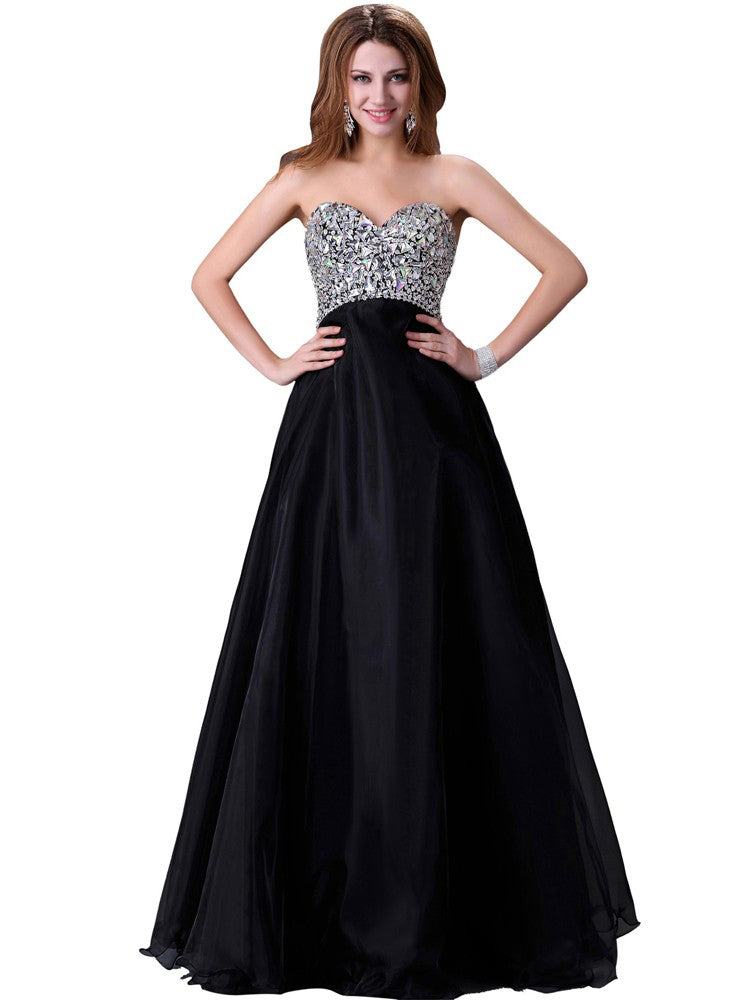 Sexy Black Prom Dresses Rhinestone A-line Lace-up Floor-length Prom Dress/Evening Dress JKL242