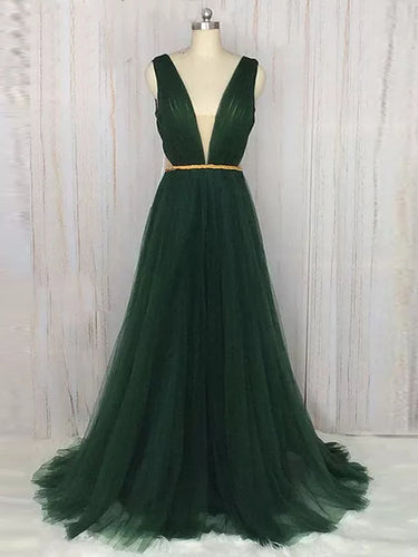 Cheap Green Prom Dresses V-neck Floor-length Ruffles Sexy Prom Dress/Evening Dress JKL244