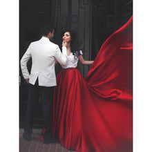 Two Piece Prom Dresses Sexy Red White Off-the-shoulder Long Prom Dress/Evening Dress JKL245|Annapromdress