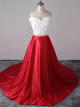 Two Piece Prom Dresses Sexy Red White Off-the-shoulder Long Prom Dress/Evening Dress JKL245