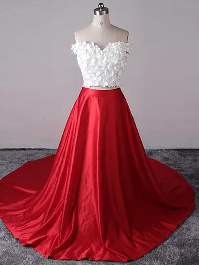 Two Piece Prom Dresses Sexy Red White Off The Shoulder Long Prom