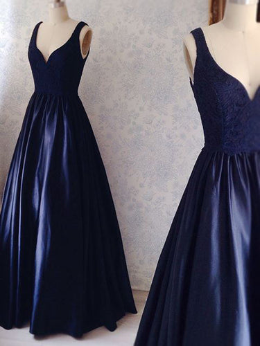 Dark Navy Prom Dresses V-neck Floor-length Sexy Lace Prom Dress/Evening Dress JKL251