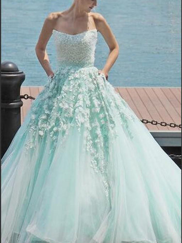 Luxury Prom Dresses Sweetheart Sweep/Brush Train Sage Prom Dress/Evening Dress JKL253