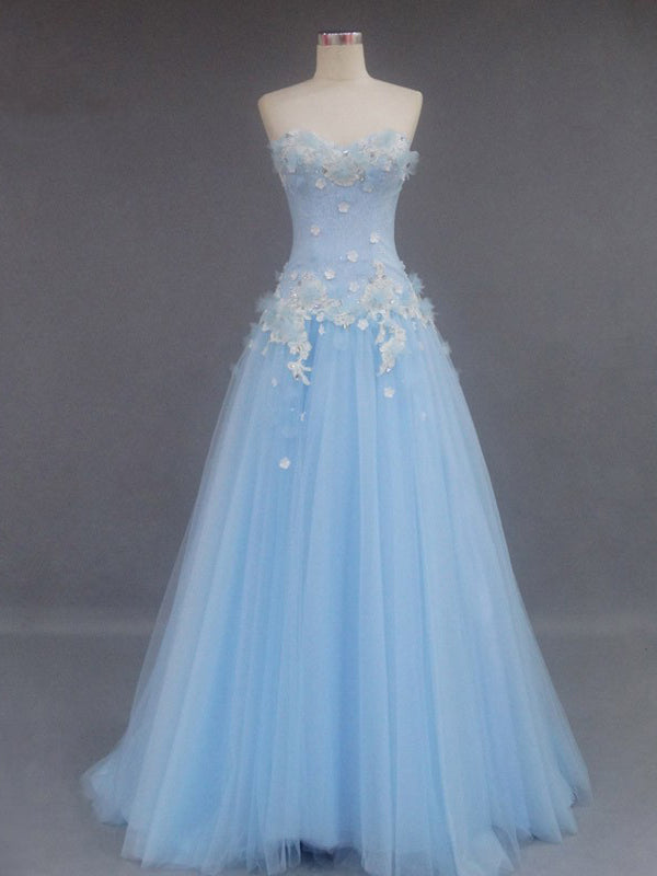 Beautiful Prom Dress Sweetheart Light Sky Blue Long Prom Dress/Evening Dress JKL254