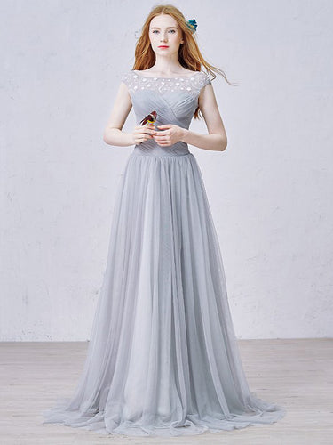 Chic Prom Dresses A-line Floor-length Silver Long Prom Dress/Evening Dress JKL255
