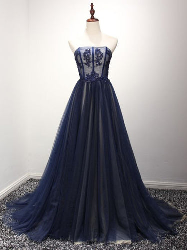 Sexy Prom Dresses Strapless Floor-length Dark Navy Prom Dress/Evening Dress JKL257