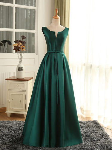 Cheap Prom Dresses Sexy Scoop Dark Green Satin Long Prom Dress/Evening Dress JKL259