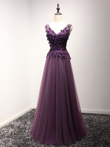 Chic Prom Dresses Appliques V-neck Lace-up Floor-length Prom Dress/Evening Dress JKL261