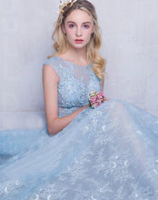 Long Lace Prom Dresses Scoop Appliques Baby Blue Prom Dress/Evening Dress JKL262