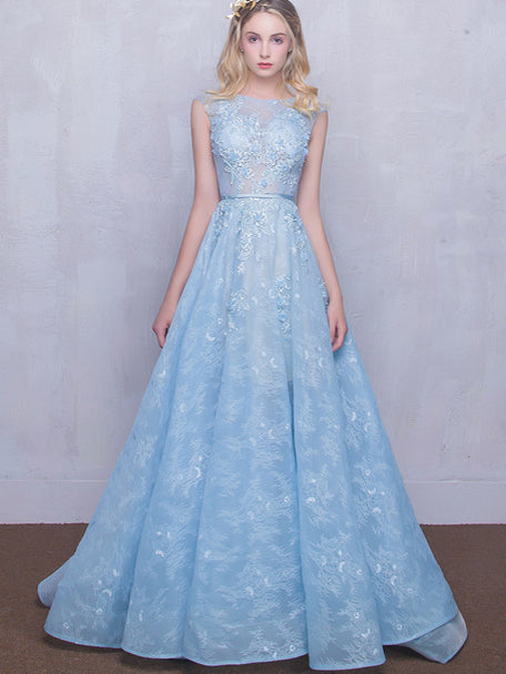 Long Lace Prom Dresses Scoop Appliques Baby Blue Prom ...