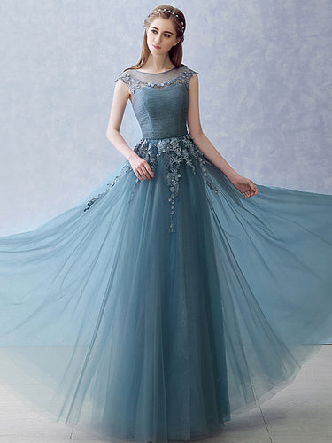 Beautiful Prom Dresses Scoop Appliques Long Sexy Prom Dress/Evening Dress JKL263