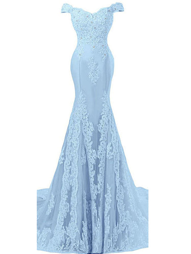 Trumpet/Mermaid Prom Dresses Off-the-shoulder Appliques Tulle Sexy Prom Dress/Evening Dress JKL265