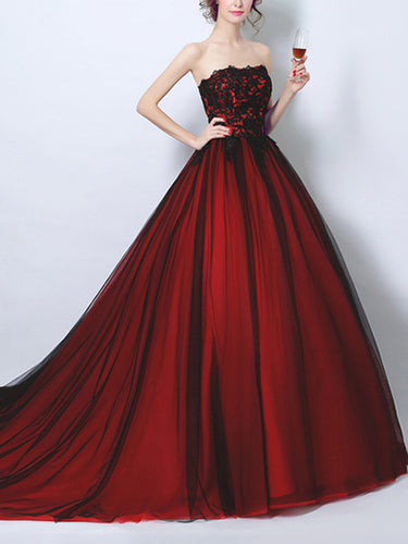 Black Prom Dress Ball Gown Appliques Sweep/Brush Train Sexy Burgundy Prom Dress/Evening Dress JKL266