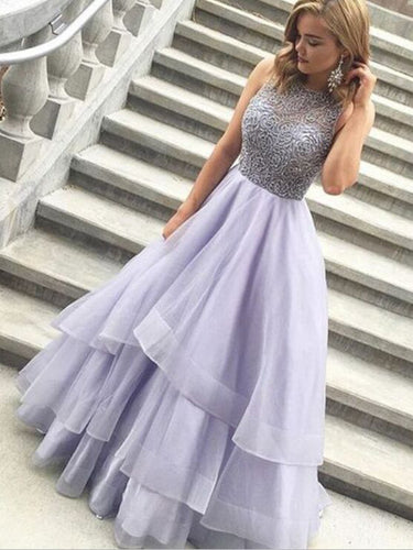 Chic Prom Dresses A-line Scoop Floor-length Sexy Prom Dress Evening Dress 8b3c03061549