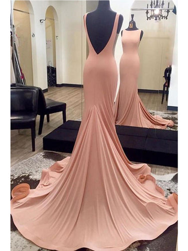 Sexy Backless Prom Dresses Bateau Sweep/Brush Train Chic Prom Dress/Evening Dress JKL275