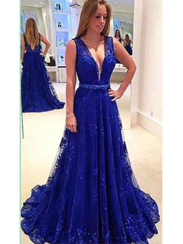 Sexy Prom Dresses V-neck Sweep/Brush Train Royal Blue Prom Dress/Evening Dress JKL278