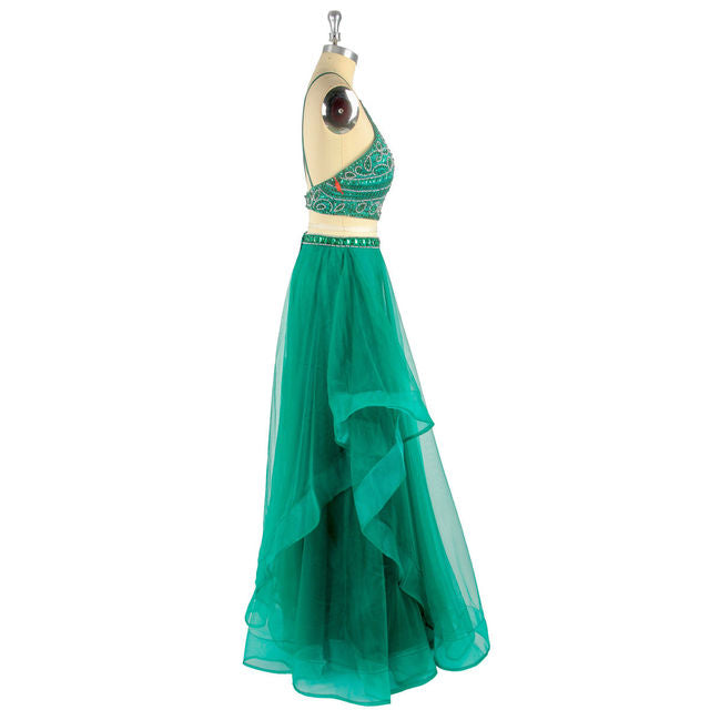 Two Piece Prom Dresses A-line Halter Floor-length Hunter Green Prom ...