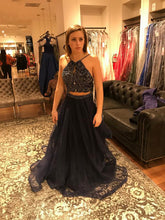Two Piece Prom Dresses A-line Halter Floor-length Hunter Green Prom Dress/Evening Dress JKL279